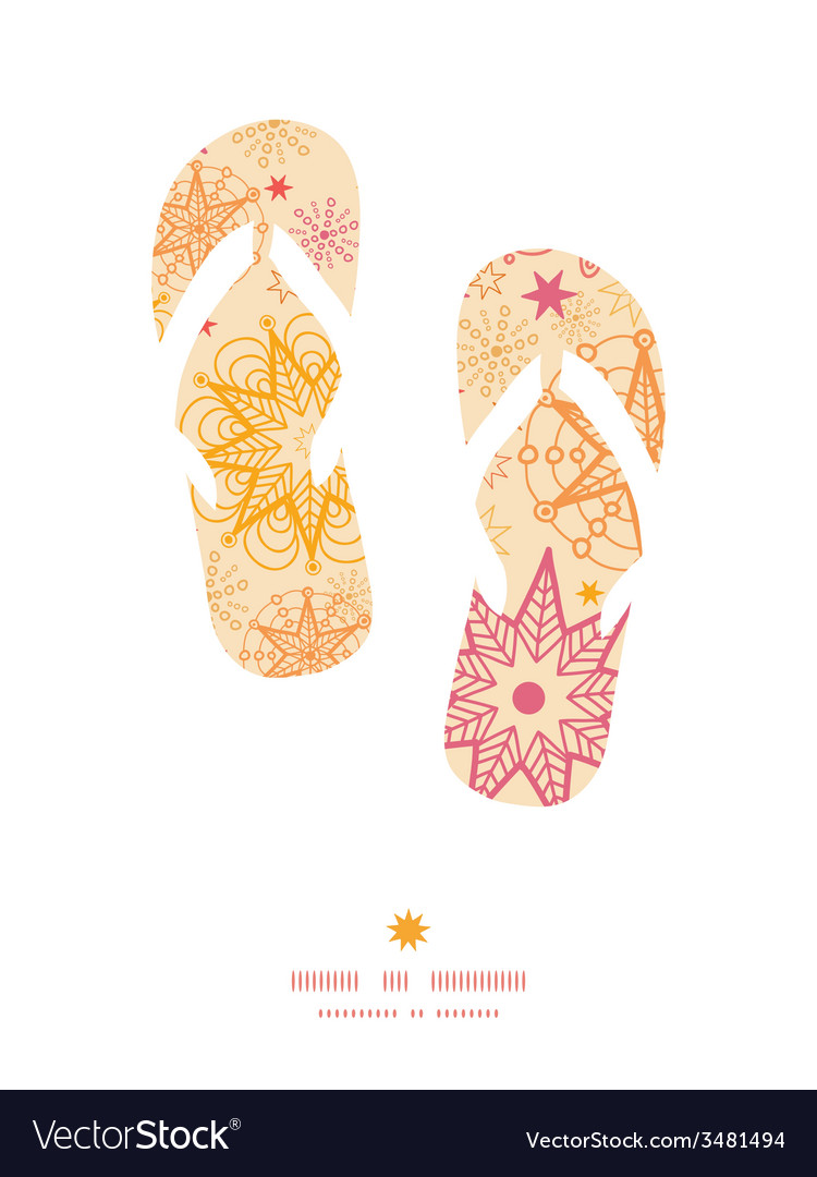 Warm stars flip flops silhouettes pattern frame vector | Price: 1 Credit (USD $1)