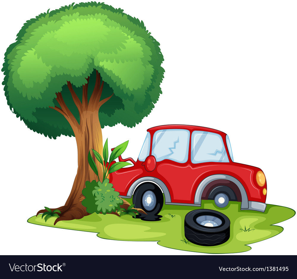 A red car bumping on a tree vector | Price: 1 Credit (USD $1)