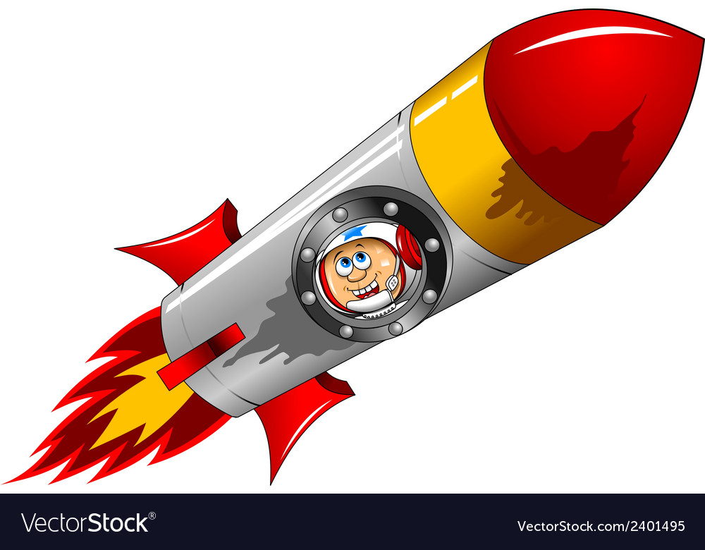 Astronaut with rocket vector | Price: 1 Credit (USD $1)