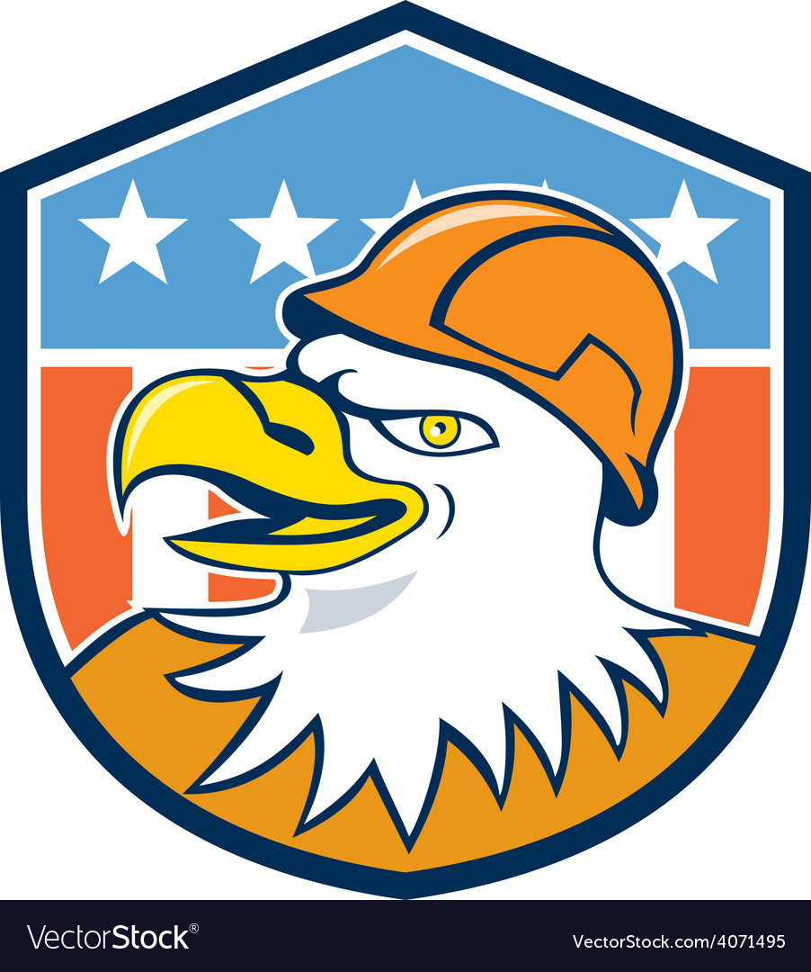 Bald eagle construction worker head flag cartoon vector | Price: 1 Credit (USD $1)