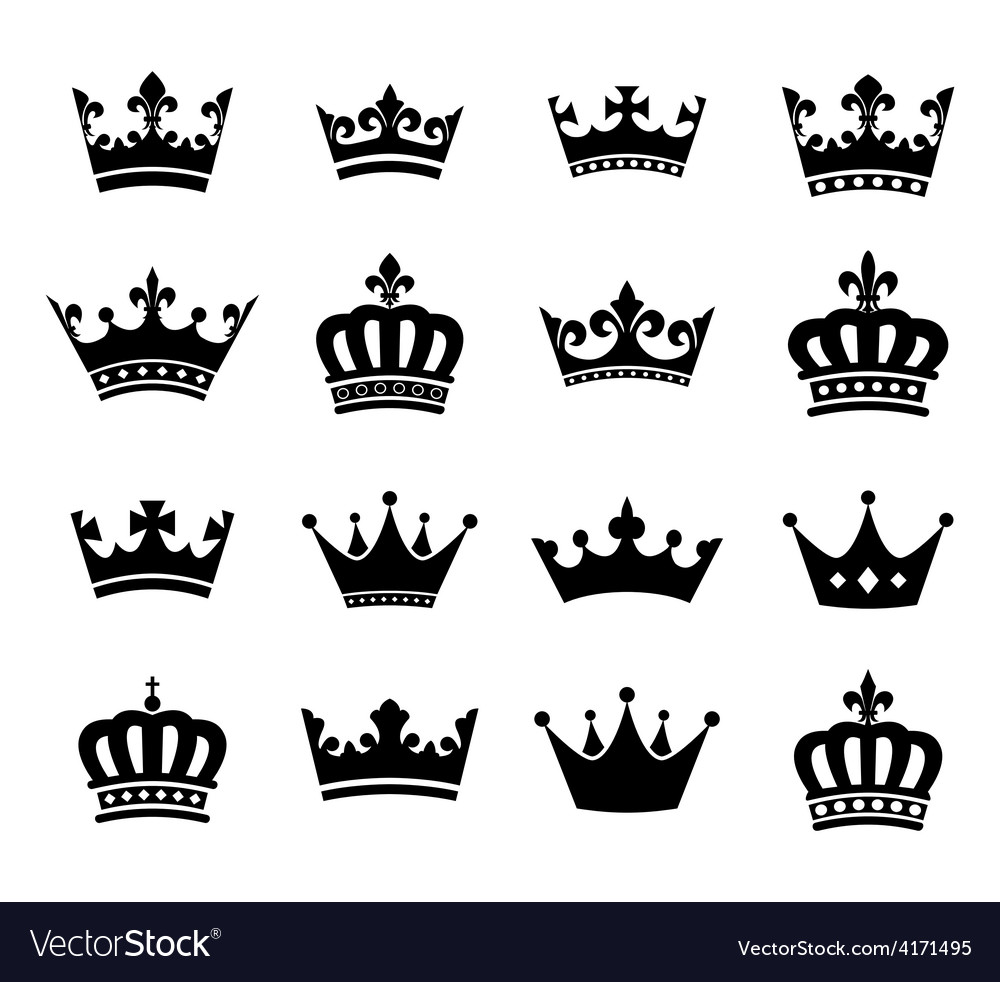 Collection of 16 crown silhouette symbols vector | Price: 1 Credit (USD $1)