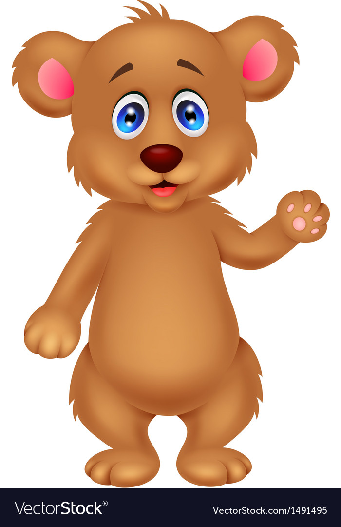Cute baby bear cartoon waving hand vector | Price: 1 Credit (USD $1)