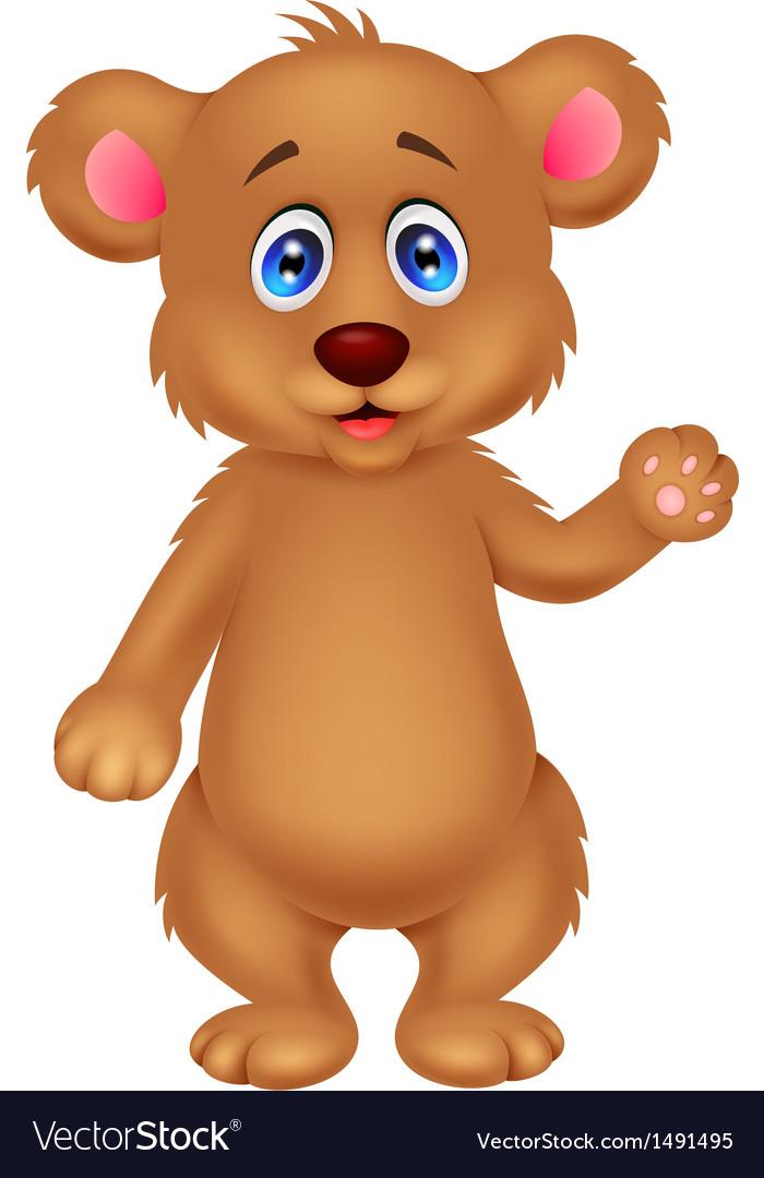 Cute baby bear cartoon waving hand vector | Price: 1 Credit (USD $1)