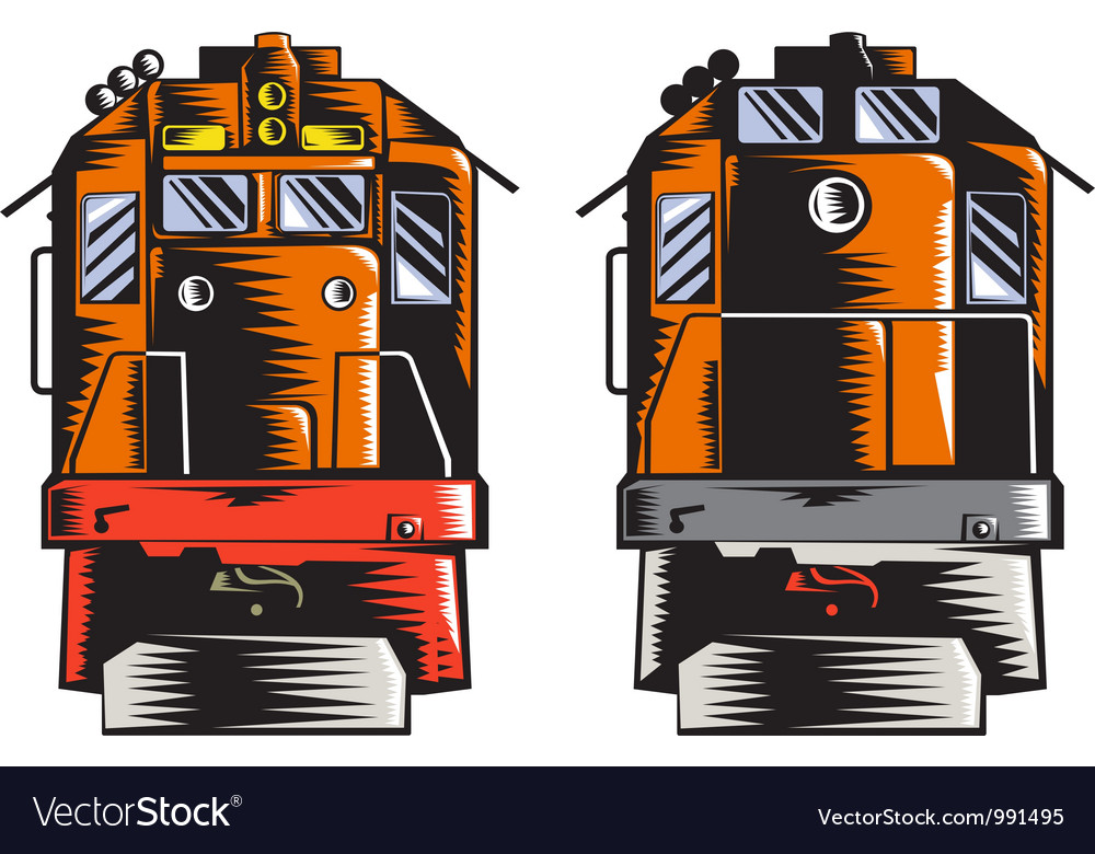 Diesel train front rear woodcut retro vector | Price: 3 Credit (USD $3)