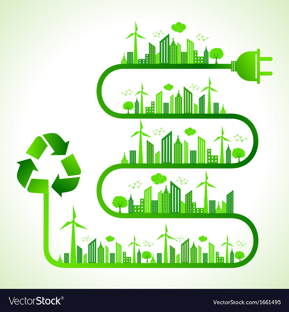 Ecology concept with recycle icon vector | Price: 1 Credit (USD $1)