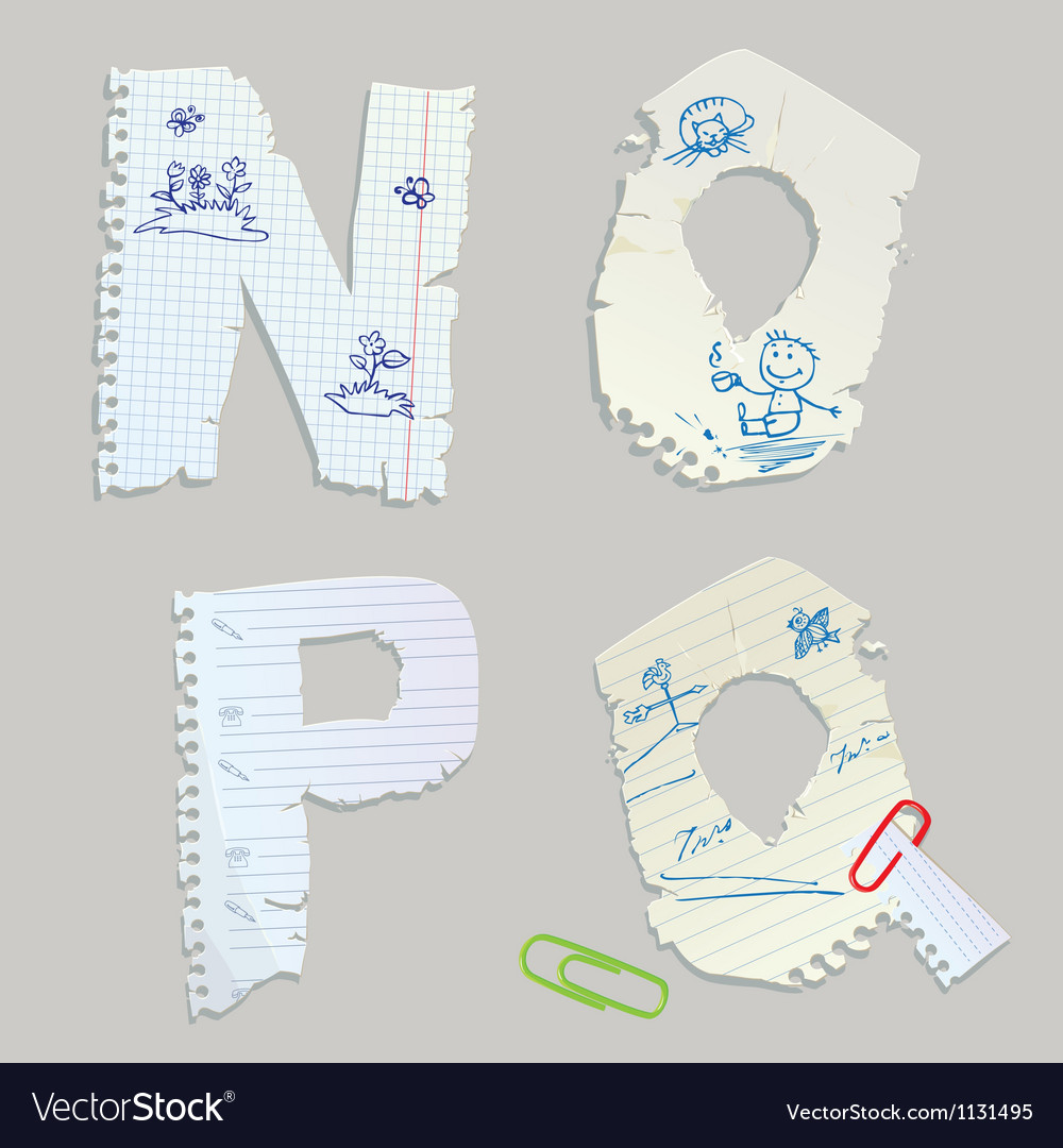 English alphabet - letters are made of old paper vector | Price: 1 Credit (USD $1)