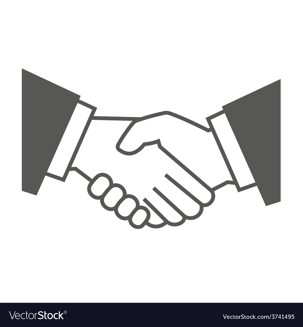 Gray handshake icon on white background vector | Price: 1 Credit (USD $1)
