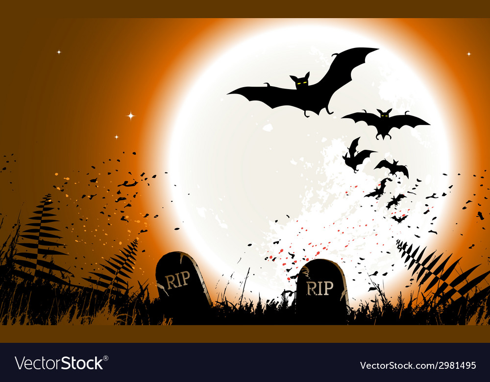Halloween background destroyed cemetery in full mo vector | Price: 1 Credit (USD $1)