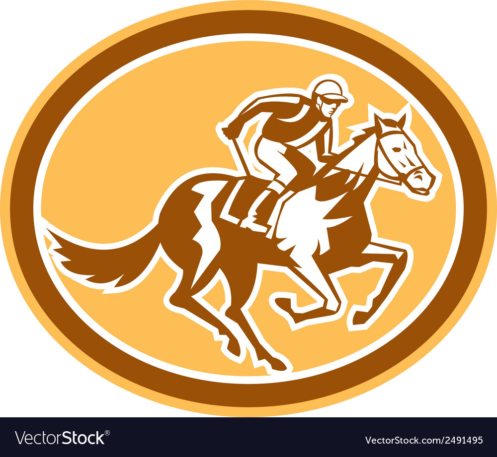 Jockey horse racing oval retro vector | Price: 1 Credit (USD $1)
