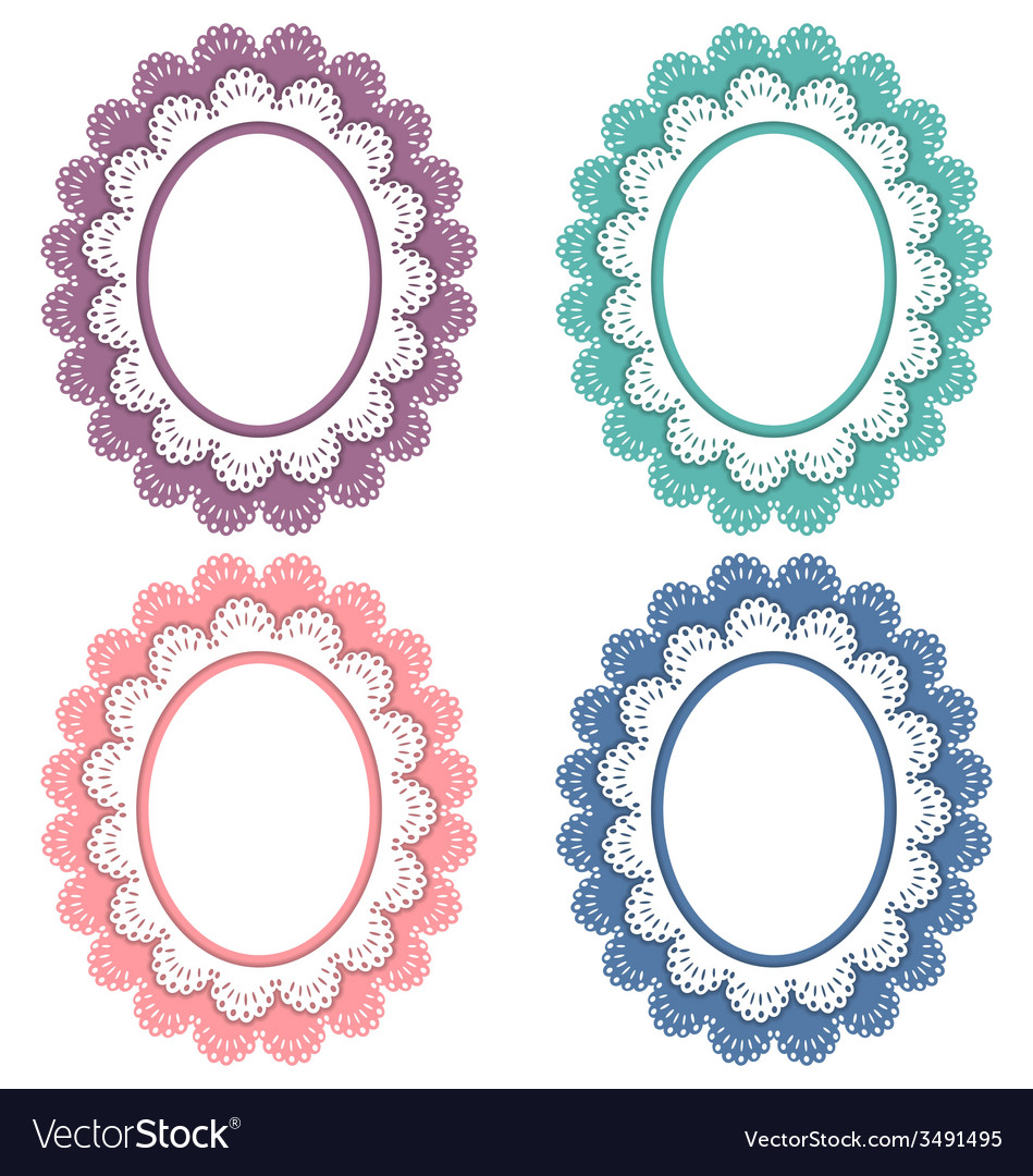 Lace frames isolated on white vector | Price: 1 Credit (USD $1)