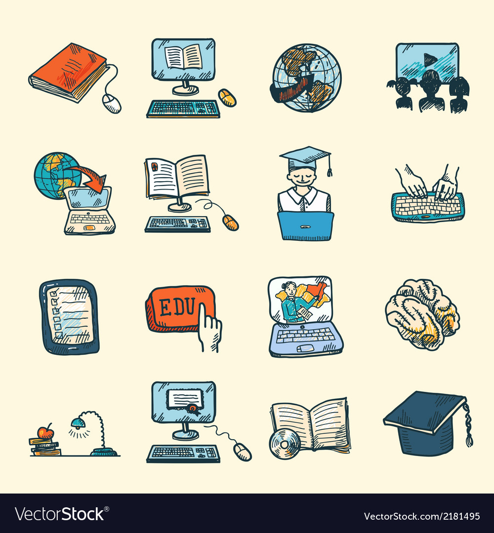 Online education icons sketch vector | Price: 1 Credit (USD $1)