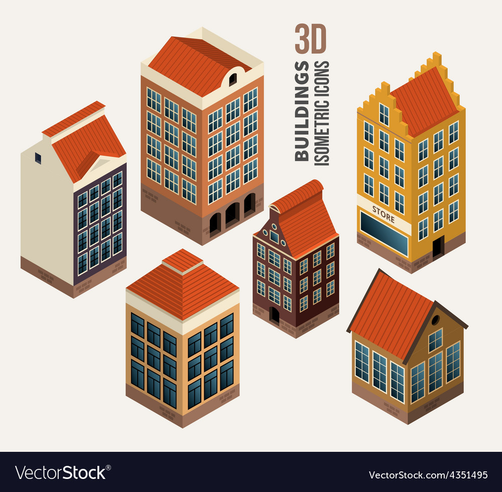 Pretty houses architecture isometric 3d vector | Price: 1 Credit (USD $1)