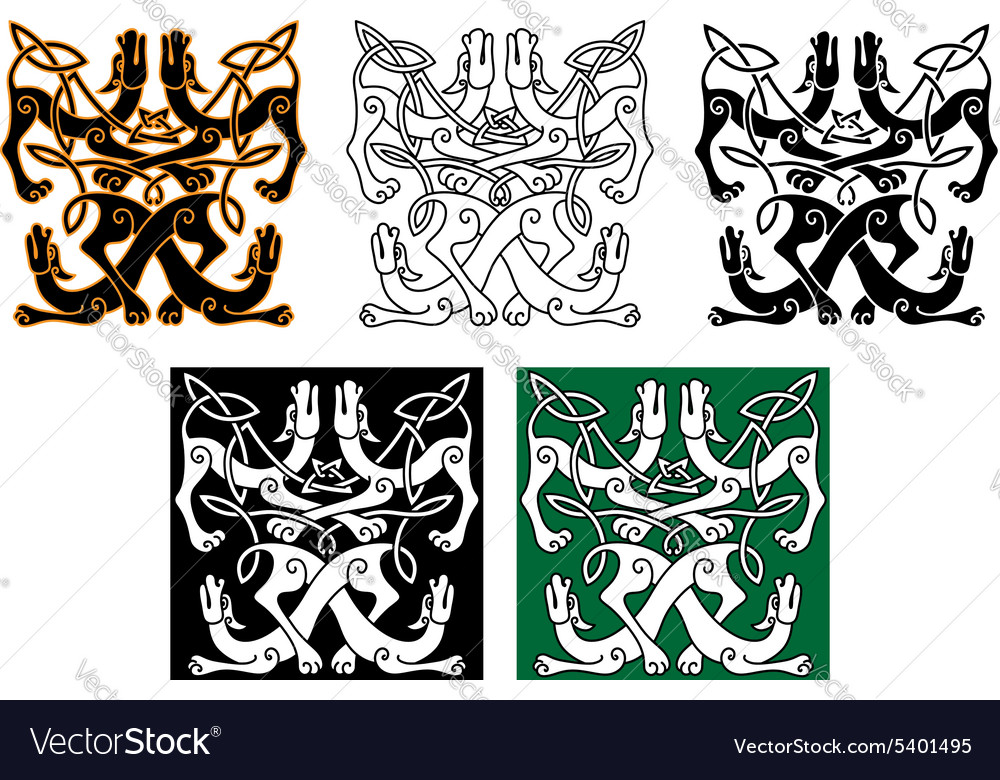Wild dogs celtic knot ornaments vector