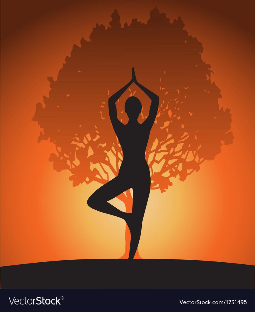 Woman in yoga tree asana vector | Price: 1 Credit (USD $1)