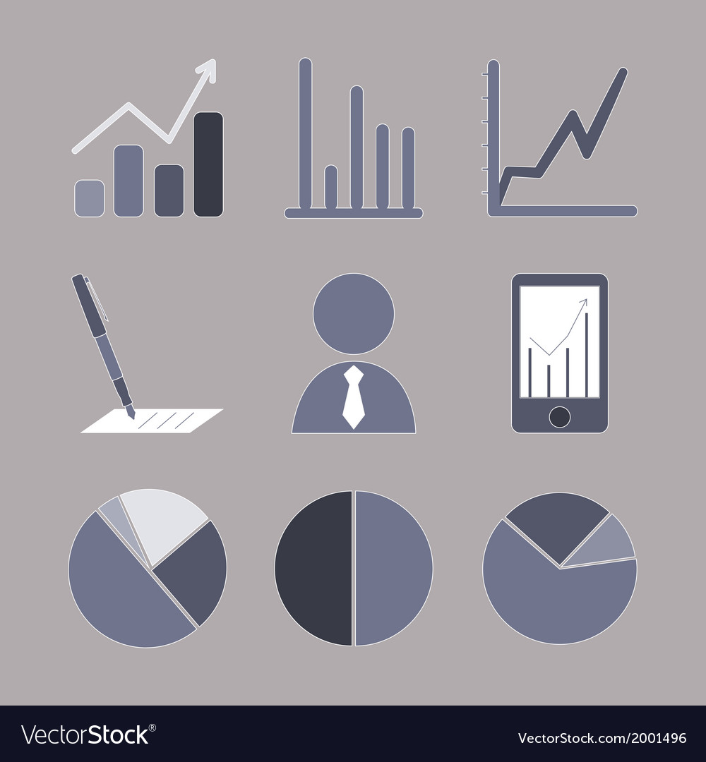 Business analytical icons with graphs vector | Price: 1 Credit (USD $1)