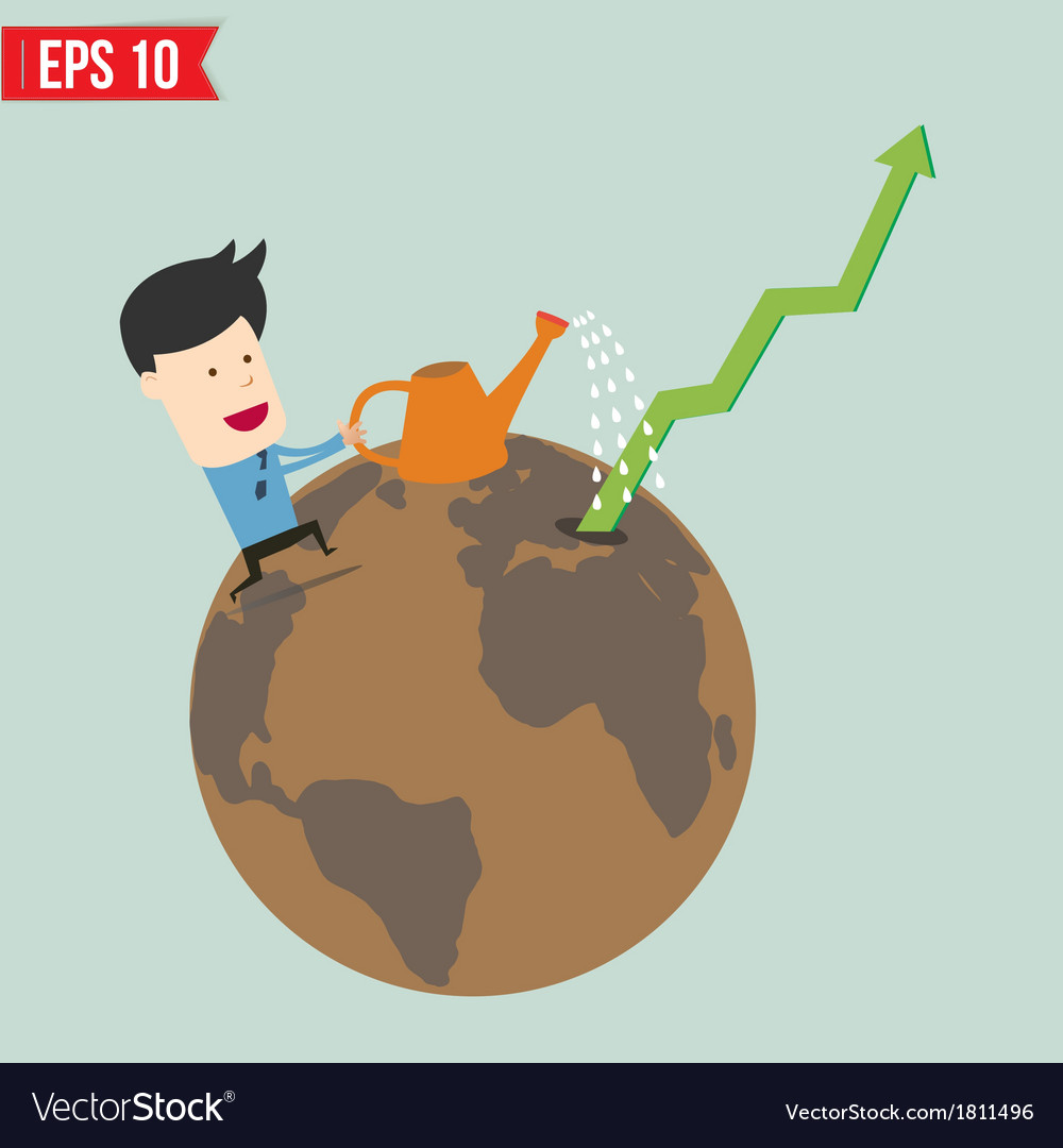 Business man watering graph - - eps10 vector | Price: 1 Credit (USD $1)