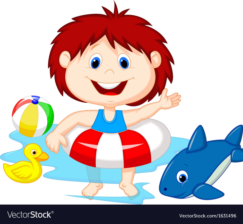 Cartoon girl floating with inflatable ring vector | Price: 1 Credit (USD $1)