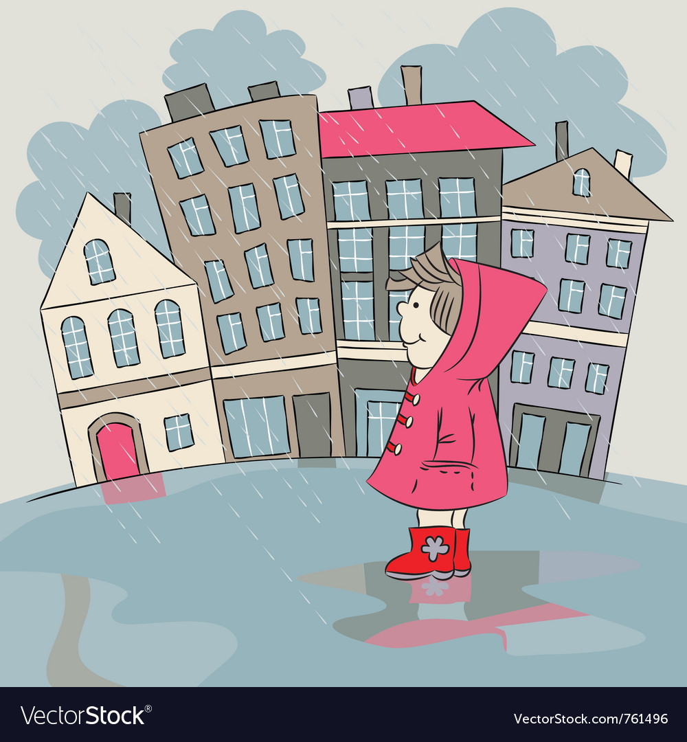 Child in the rainy city vector | Price: 1 Credit (USD $1)