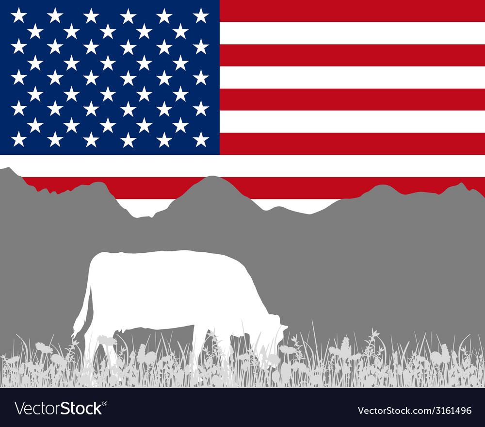 Cow alp and flag of usa vector | Price: 1 Credit (USD $1)