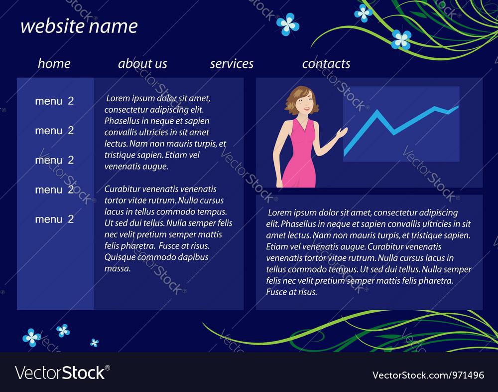 Dark blue website template with flora vector   Price: 1 Credit (USD $1)