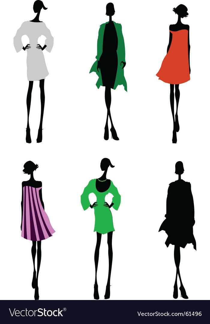 Fashion girls designer silhouette sketch vector | Price: 1 Credit (USD $1)