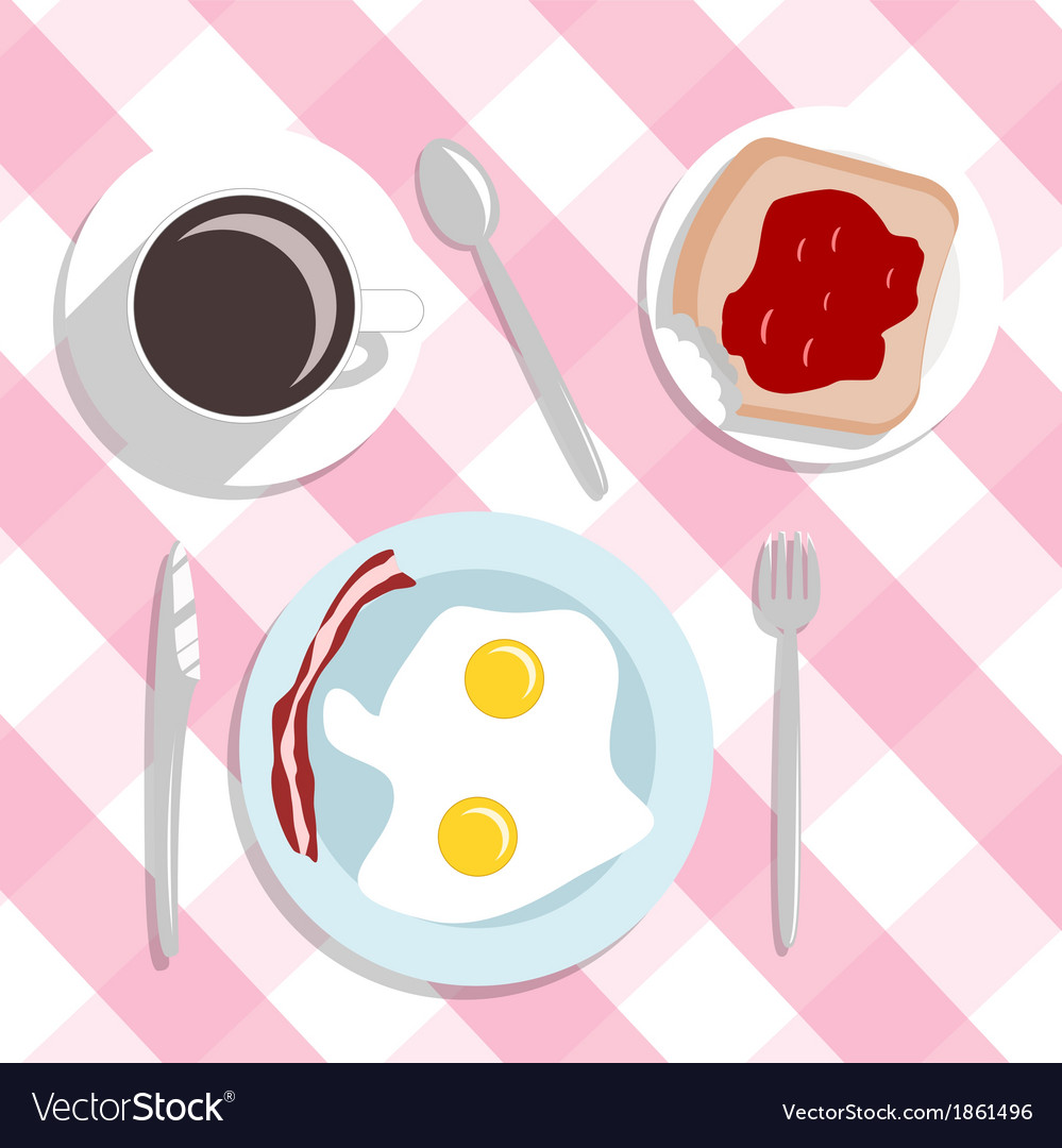 Flat design style breakfast concept background vector | Price: 1 Credit (USD $1)