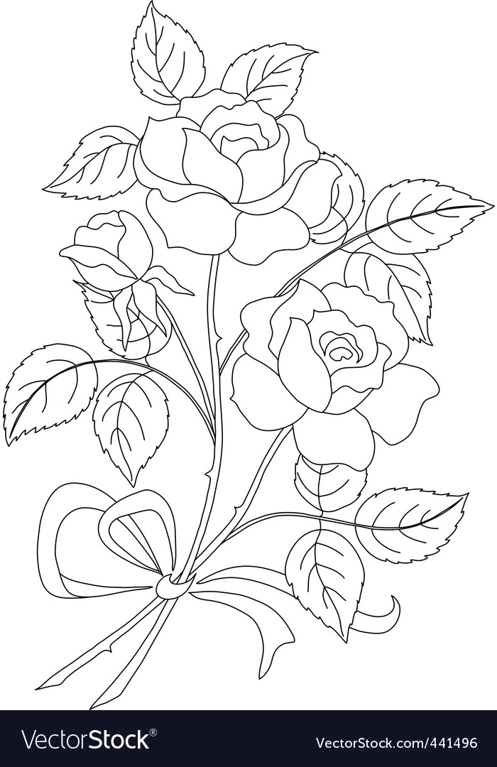 Flowers rose contour vector | Price: 1 Credit (USD $1)