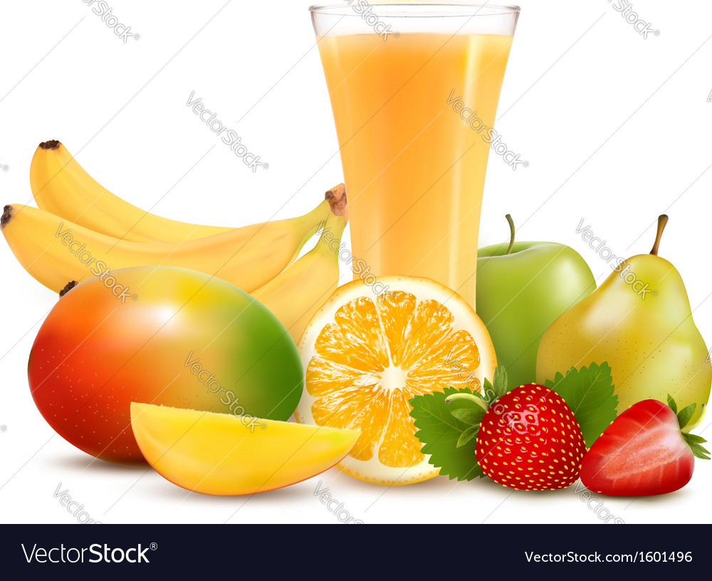 Group of summer and tropical fruit vector | Price: 1 Credit (USD $1)