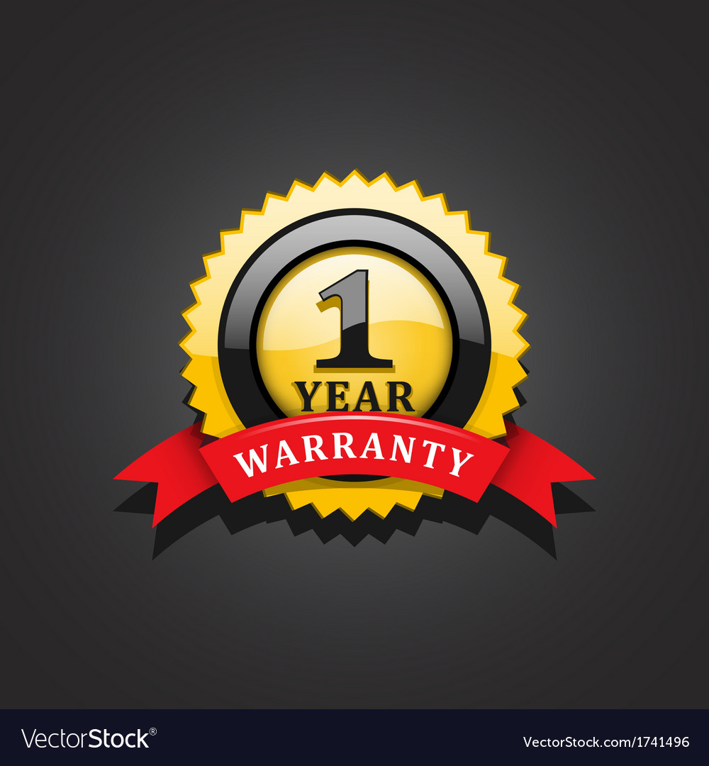 One year warranty emblem vector | Price: 1 Credit (USD $1)