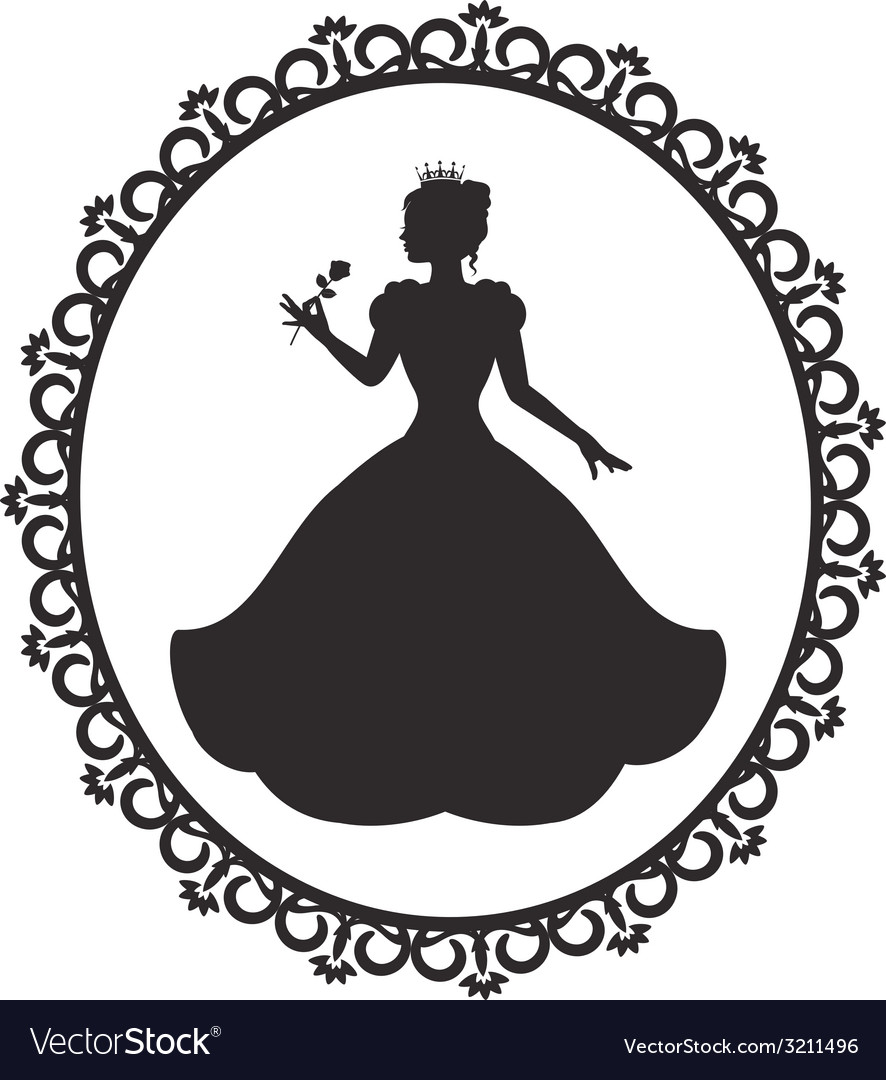 Princess in a magnificent dress in a retro frame vector | Price: 1 Credit (USD $1)