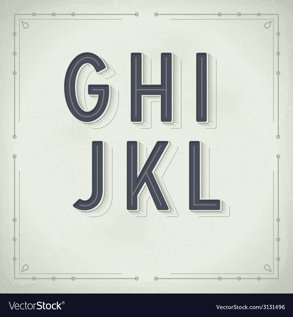 Retro font from g to l vintage typography vector | Price: 1 Credit (USD $1)