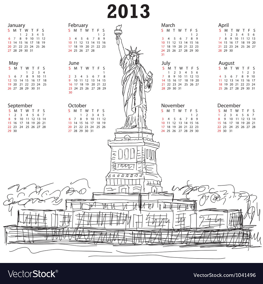 Statue of liberty 2013 calendar vector | Price: 1 Credit (USD $1)