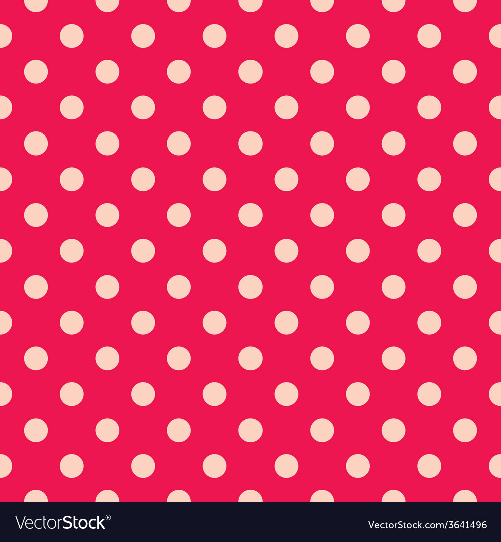 Tile pattern pink polka dots on red background vector | Price: 1 Credit (USD $1)