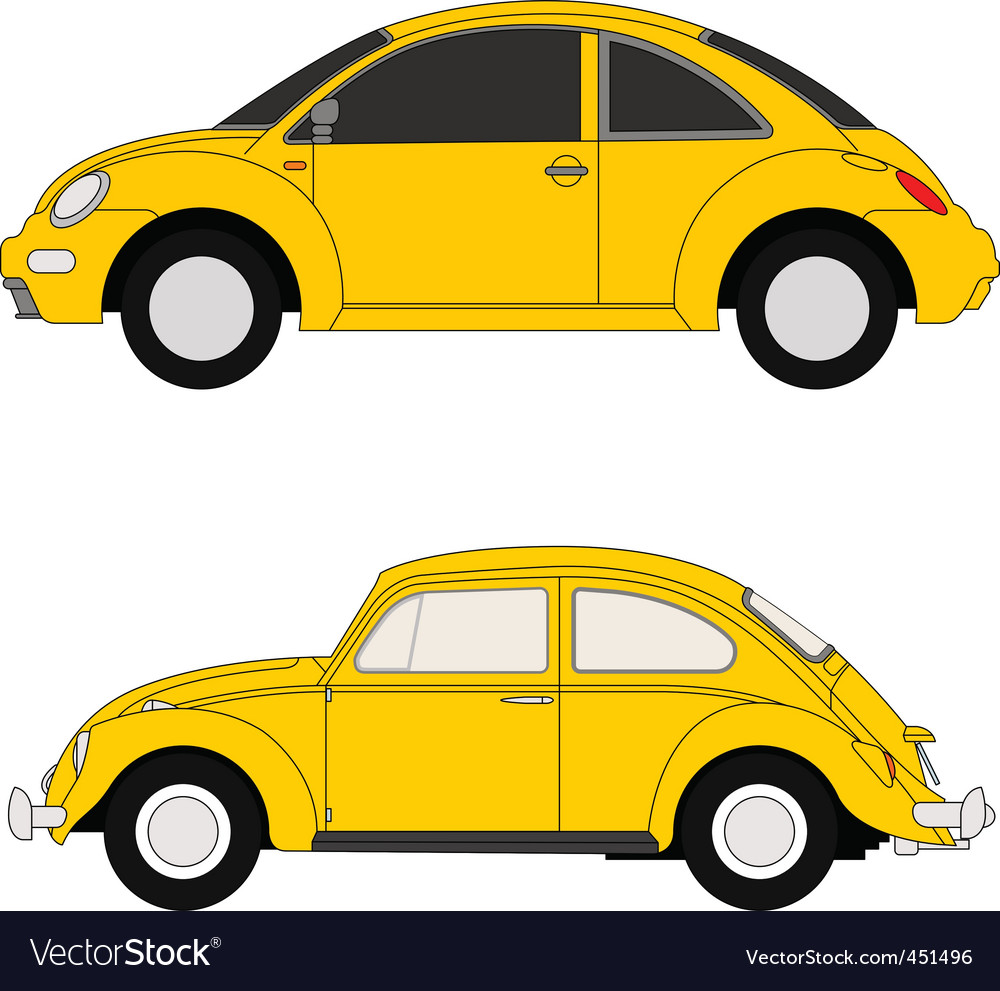 Yellow beetles vector