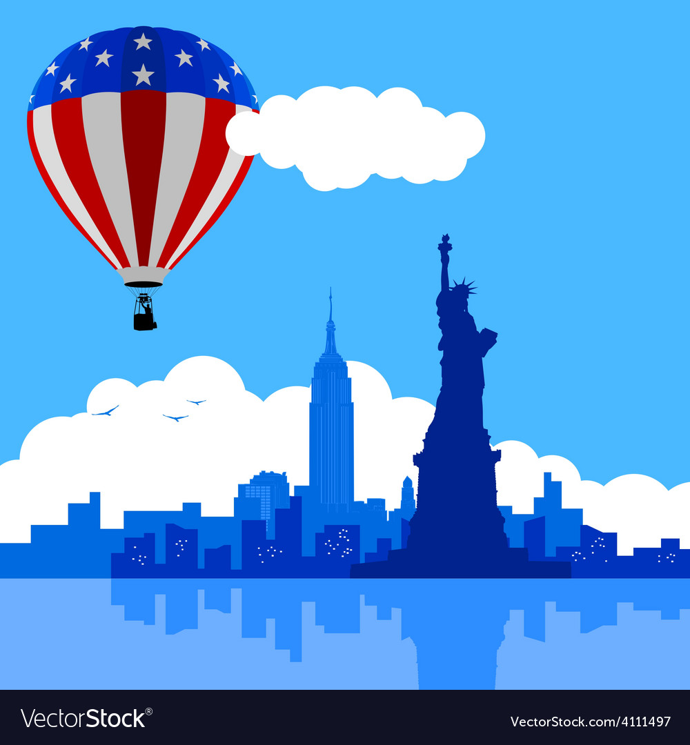 Air balloon on new york city vector | Price: 1 Credit (USD $1)