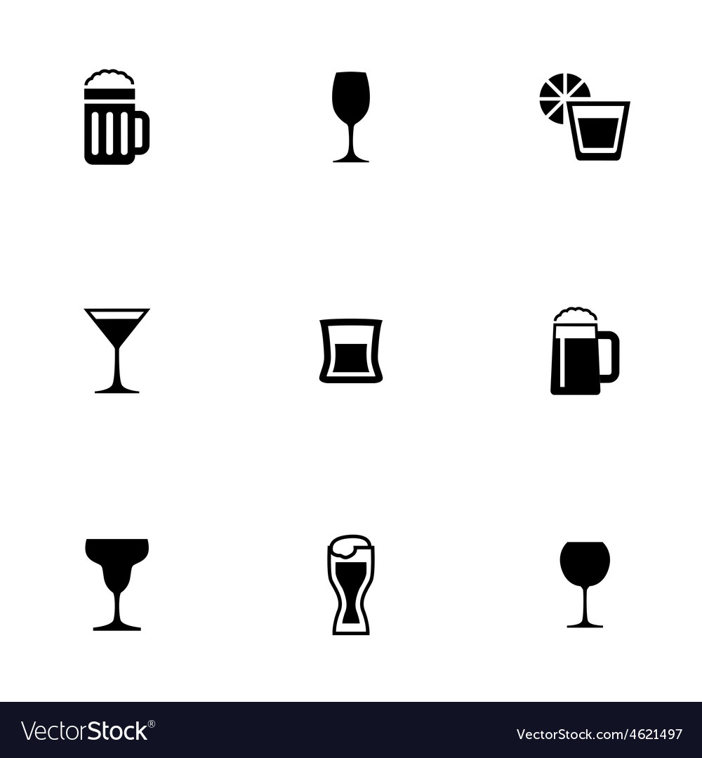 Alcohol 9 icons set vector | Price: 1 Credit (USD $1)