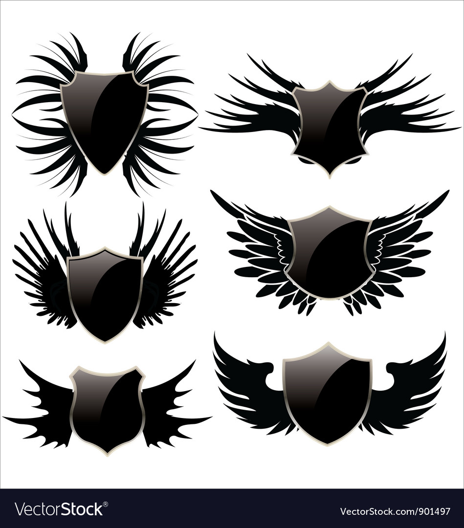 Black shield with wings vector | Price: 1 Credit (USD $1)