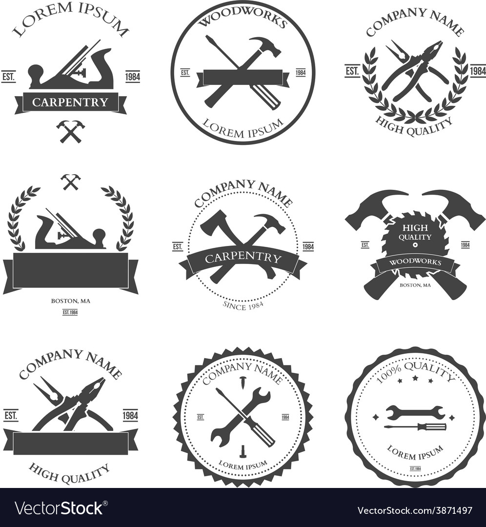 Carpentry tools labels and design elements vector