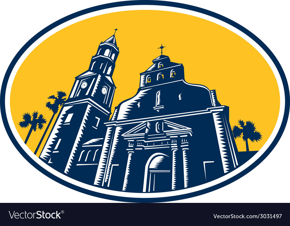 Cathedral basilica of st augustine woodcut retro vector | Price: 1 Credit (USD $1)