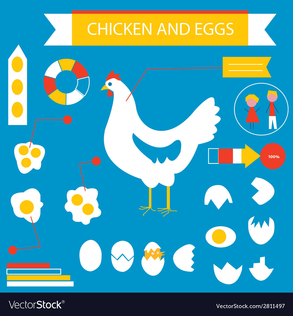 Chicken and eggs infographic set vector | Price: 1 Credit (USD $1)