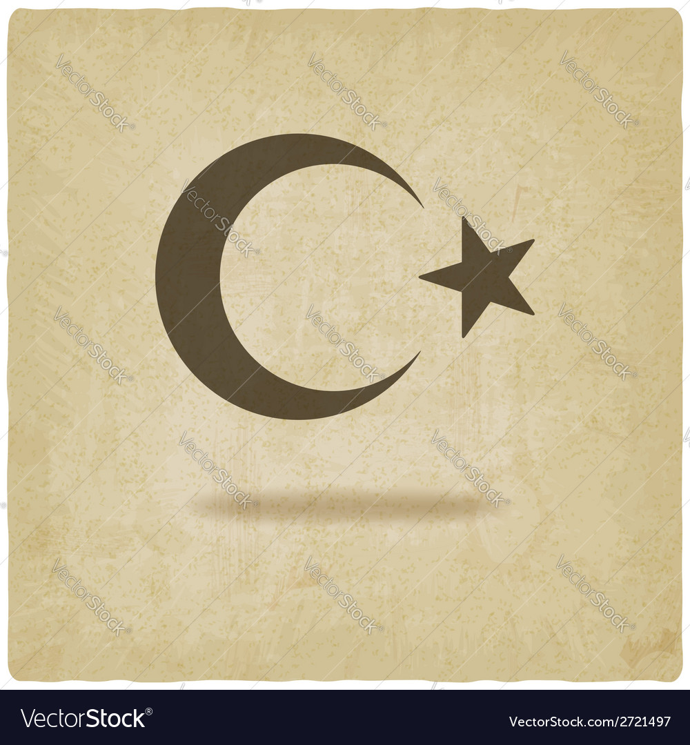 Crescent moon and star old background vector | Price: 1 Credit (USD $1)