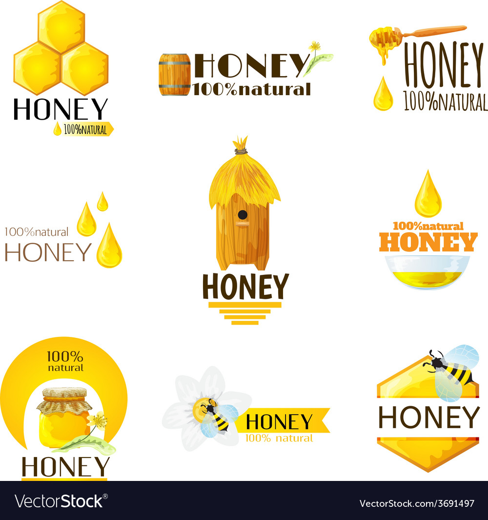 Honey labels set vector | Price: 1 Credit (USD $1)