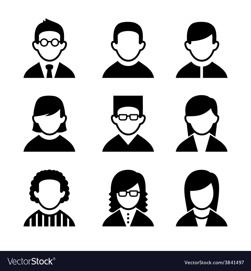 Managers and programmers user icons set vector | Price: 1 Credit (USD $1)