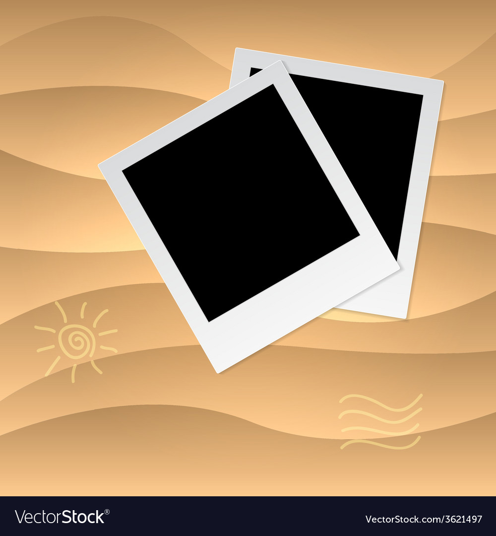 Photoframe on the tropical veack yellow sand vector | Price: 1 Credit (USD $1)