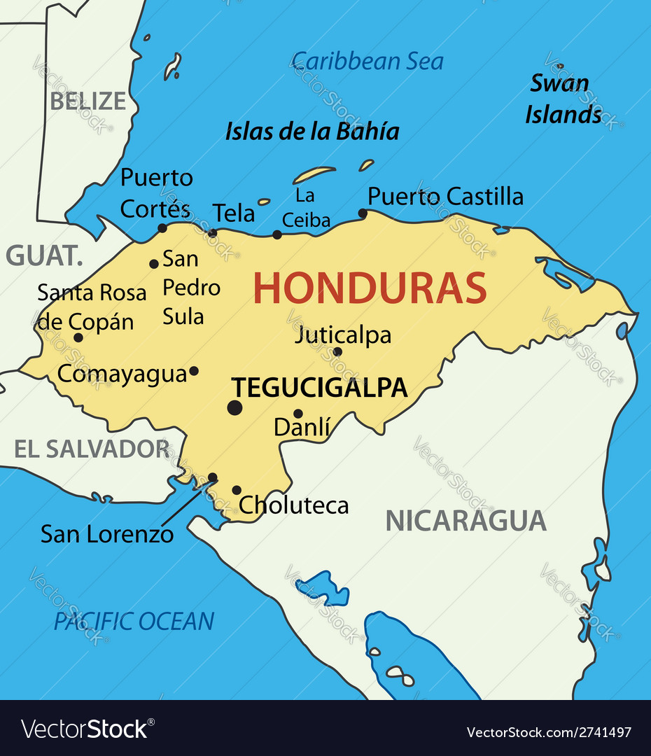 Republic of honduras - map vector | Price: 1 Credit (USD $1)