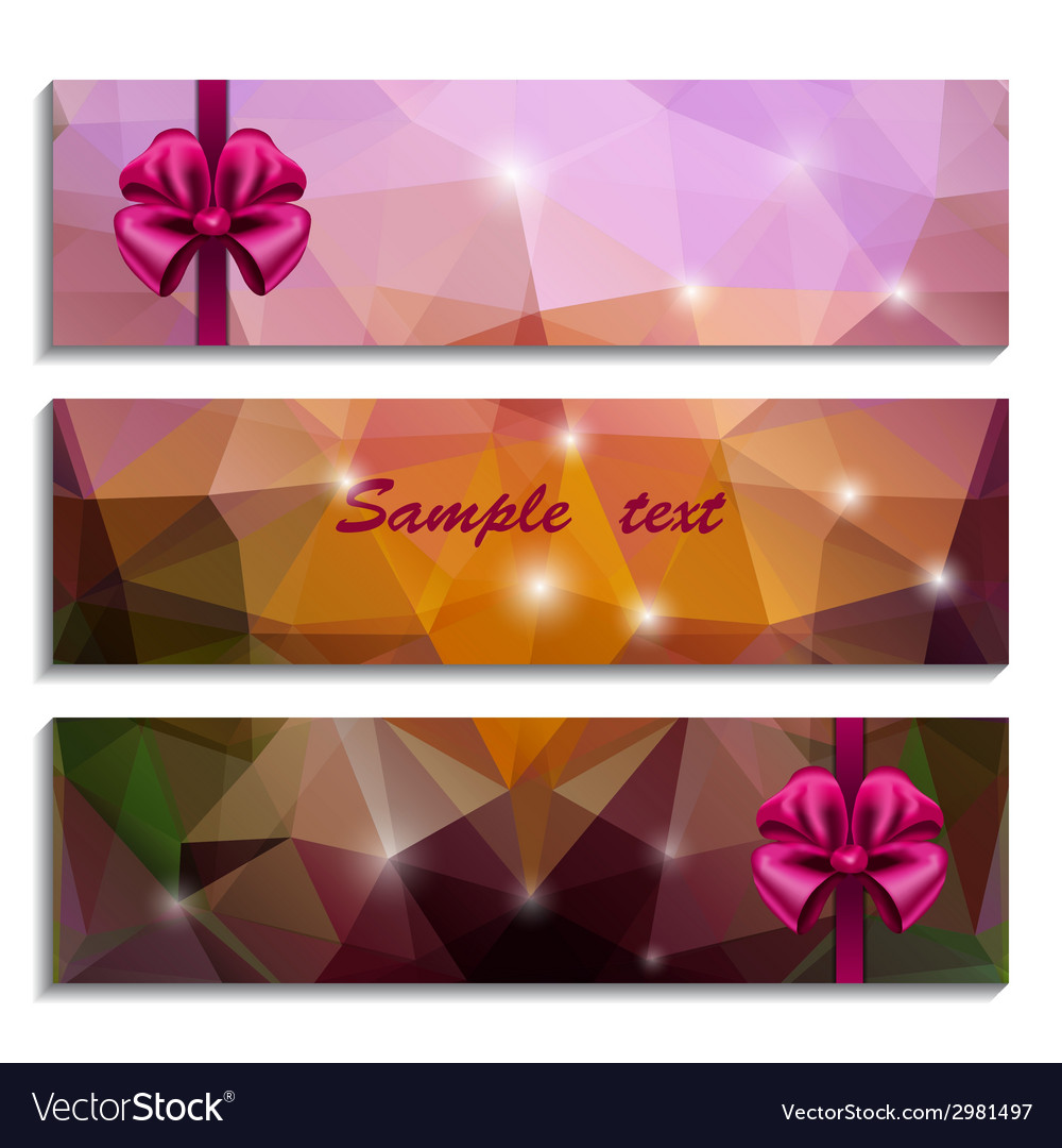 Set of three banners with bow vector | Price: 1 Credit (USD $1)