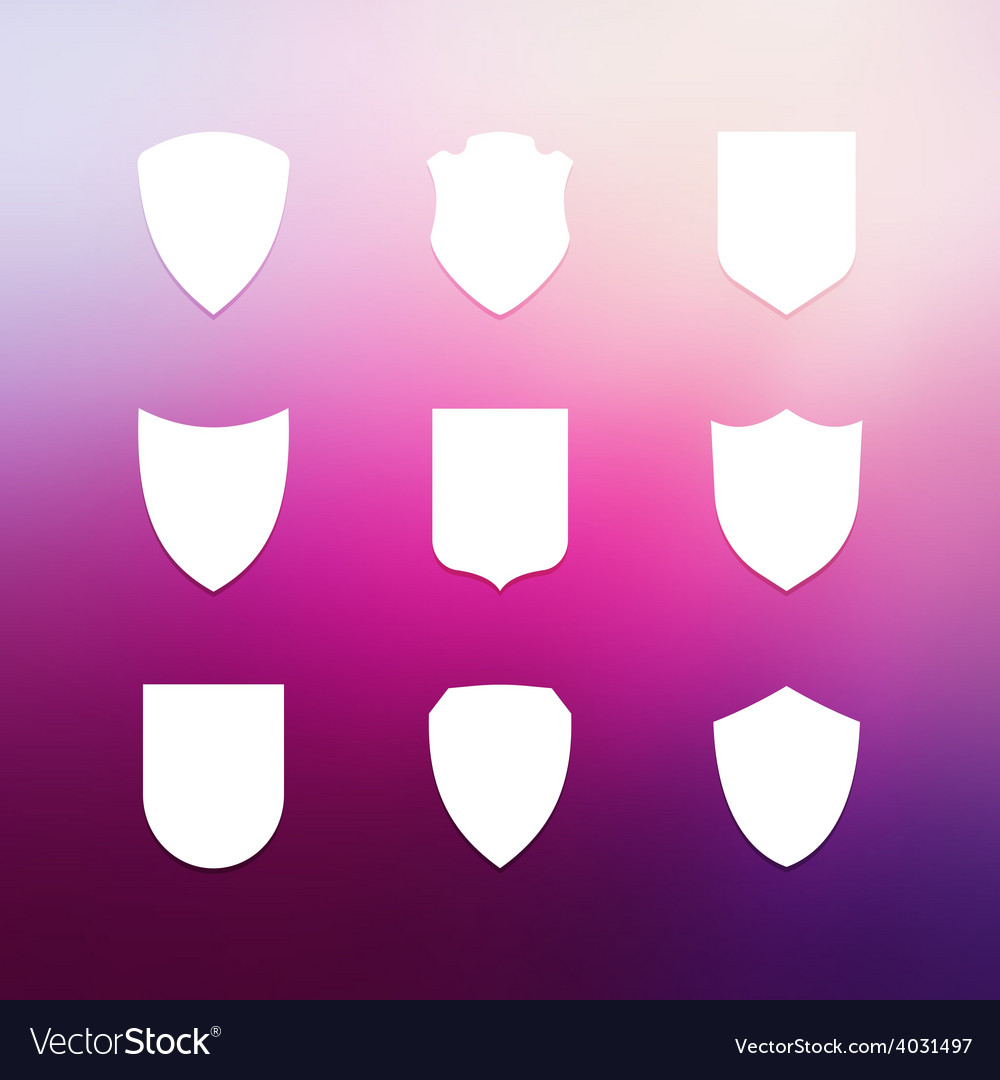Shield frames simple icons set vector | Price: 1 Credit (USD $1)