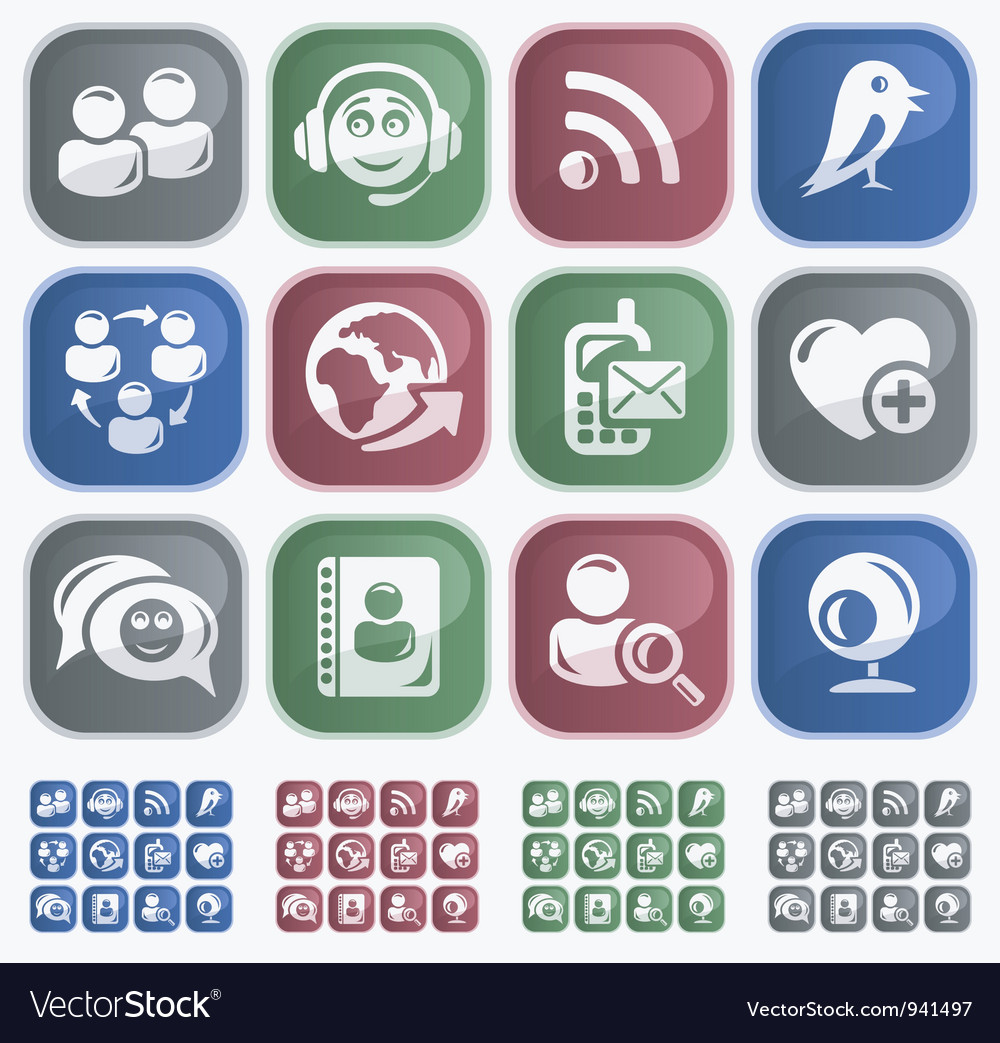 Social network buttons vector | Price: 1 Credit (USD $1)