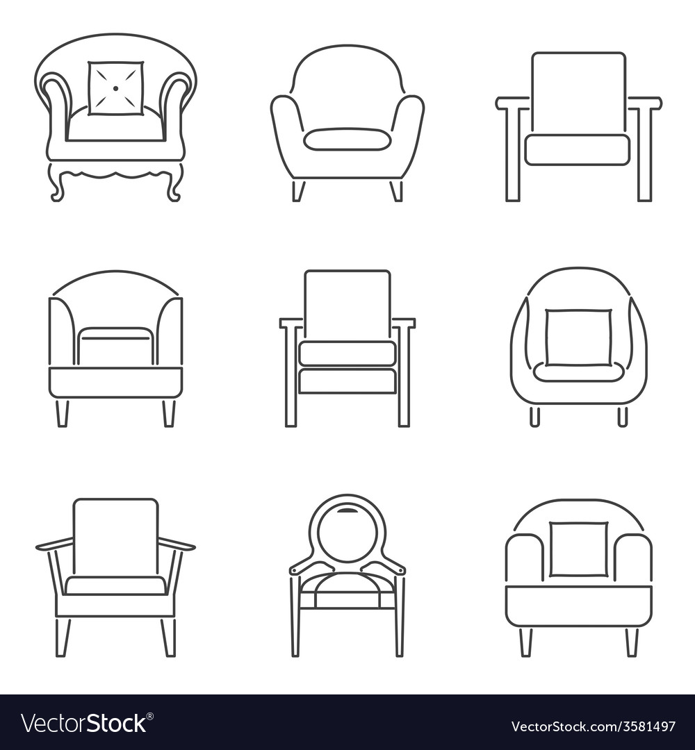 Sofa icons set black line vector | Price: 1 Credit (USD $1)