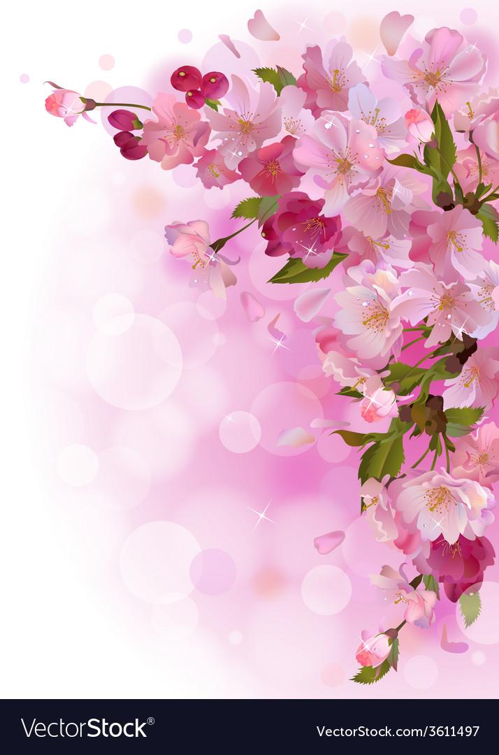 Vertical card with gentle pink sakura flowers vector | Price: 1 Credit (USD $1)